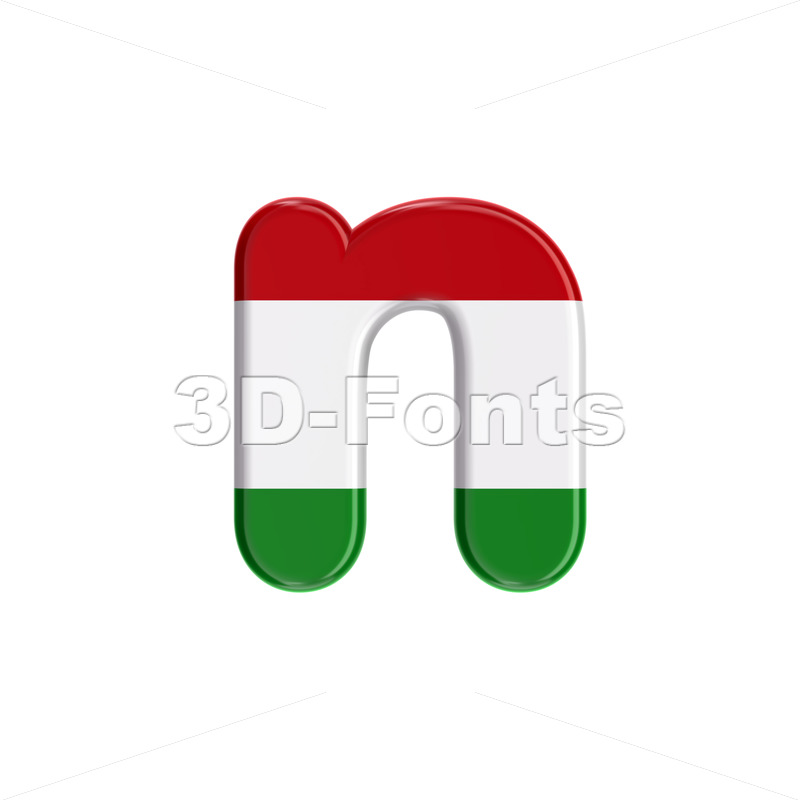 Lower-case Hungary flag letter N - Small 3d font - 3D Fonts Collections | Top Quality Letters, Numbers and Symbols !