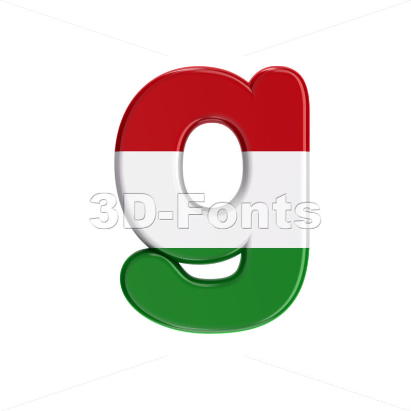 Lowercase Hungary flag font G - Small 3d character - 3D Fonts Collections | Top Quality Letters, Numbers and Symbols !