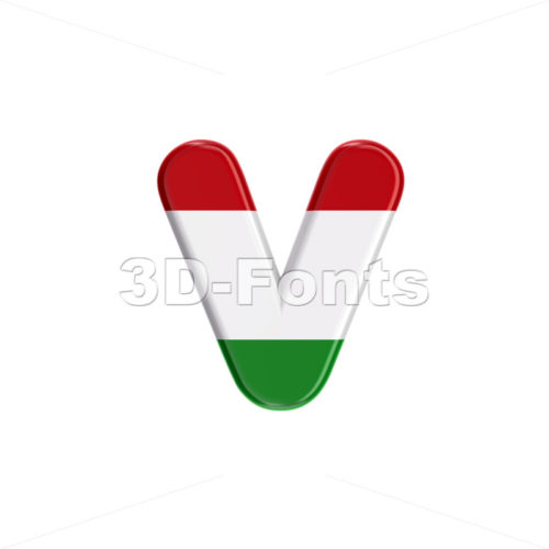 Lowercase Hungary flag font V - Small 3d letter - 3D Fonts Collections | Top Quality Letters, Numbers and Symbols !