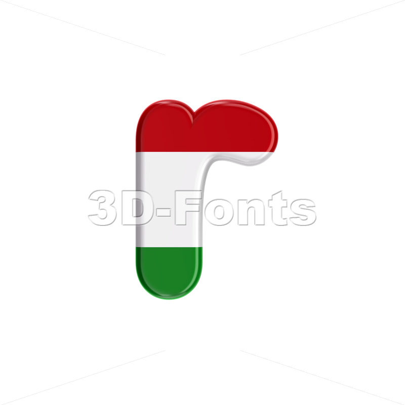 Small Hungary flag character R - Lower-case 3d letter - 3D Fonts Collections | Top Quality Letters, Numbers and Symbols !