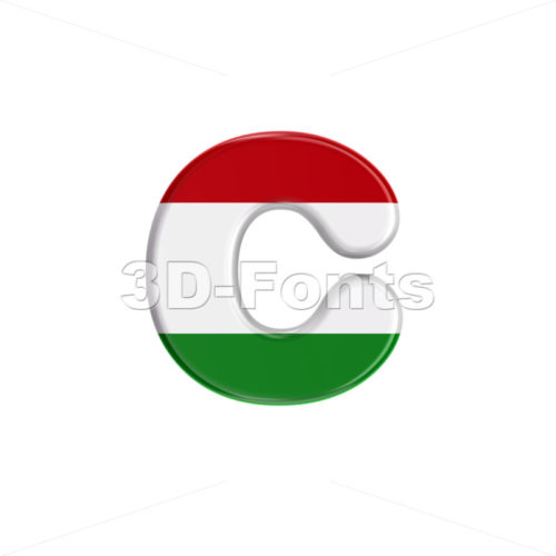 Small Hungary flag font C - Lowercase 3d character - 3D Fonts Collections | Top Quality Letters, Numbers and Symbols !
