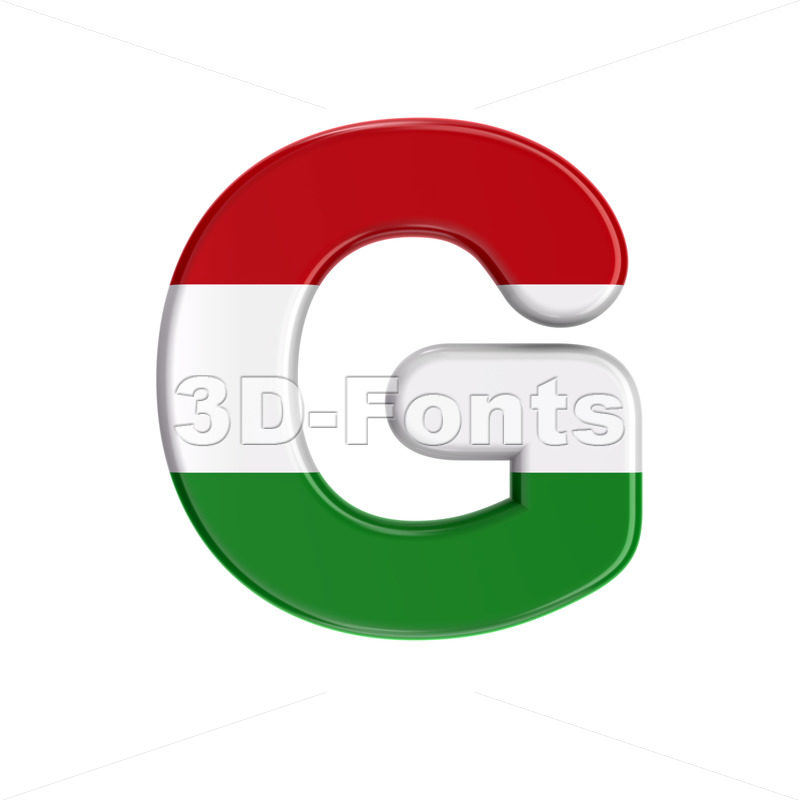 Upper-case Hungary flag character G - Capital 3d font - 3D Fonts Collections | Top Quality Letters, Numbers and Symbols !