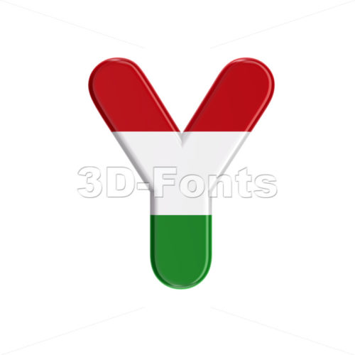 Upper-case Hungary flag font Y - Capital 3d character - 3D Fonts Collections | Top Quality Letters, Numbers and Symbols !