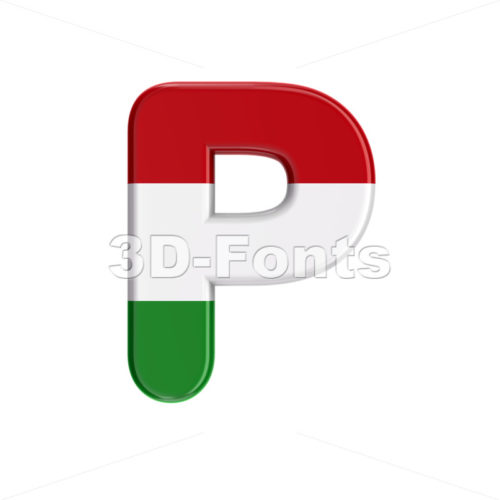 Upper-case hungarian character P - Capital 3d font - 3D Fonts Collections | Top Quality Letters, Numbers and Symbols !