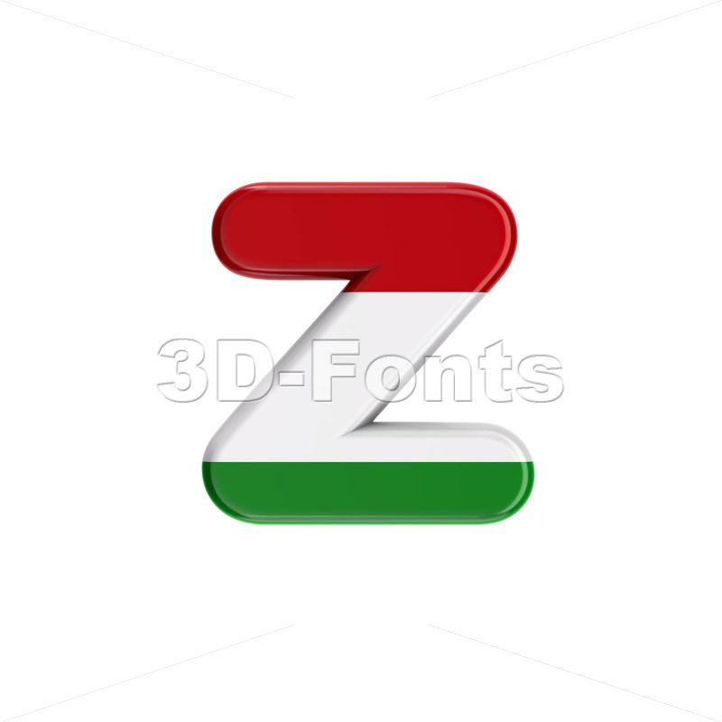 hungarian 3d character Z - Lower-case 3d font - 3D Fonts Collections | Top Quality Letters, Numbers and Symbols !