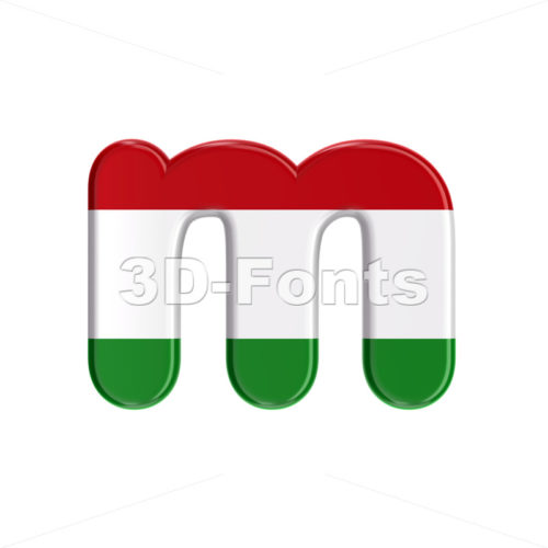 hungarian 3d font M - Lowercase 3d letter - 3D Fonts Collections | Top Quality Letters, Numbers and Symbols !