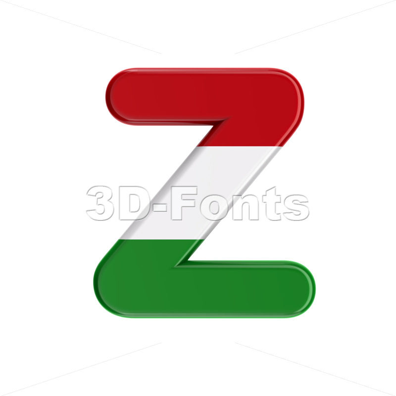 hungarian alphabet letter Z - Upper-case 3d font - 3D Fonts Collections | Top Quality Letters, Numbers and Symbols !