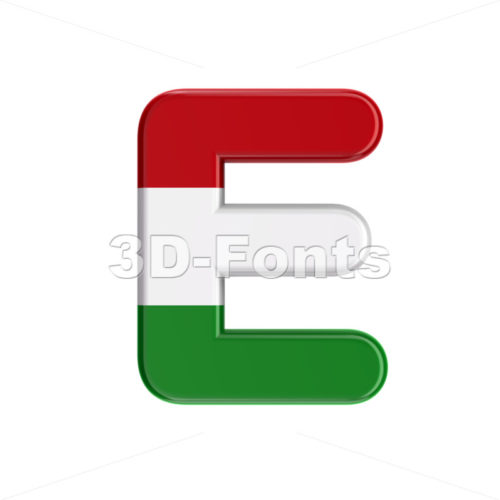 hungarian character E - Capital 3d letter - 3D Fonts Collections | Top Quality Letters, Numbers and Symbols !