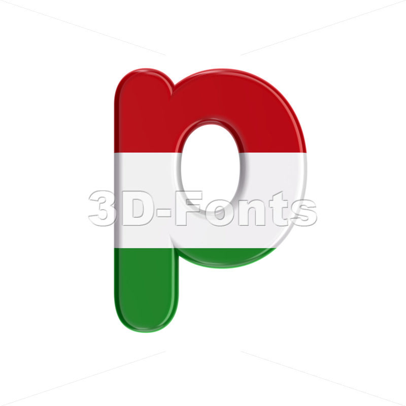 hungarian character P - Lowercase 3d font - 3D Fonts Collections | Top Quality Letters, Numbers and Symbols !