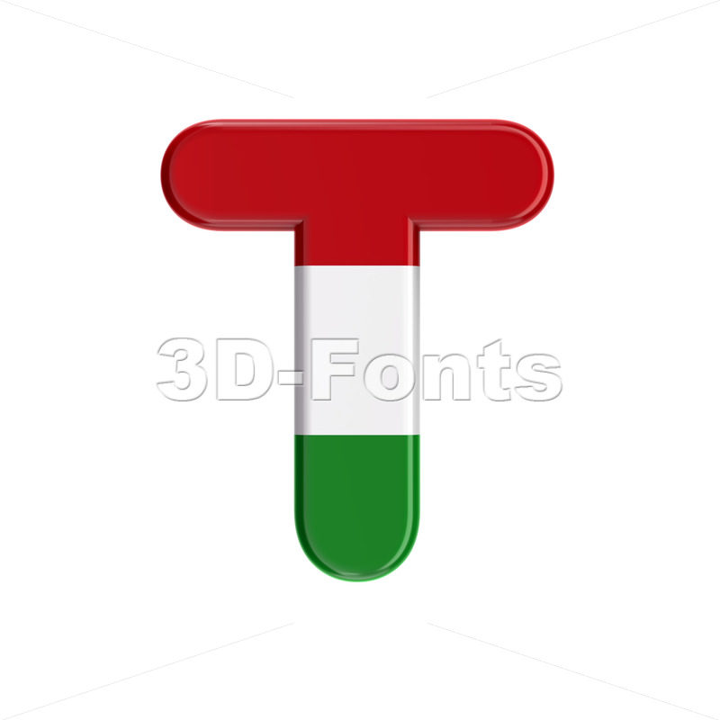 hungarian flag character T - Uppercase 3d letter - 3D Fonts Collections | Top Quality Letters, Numbers and Symbols !