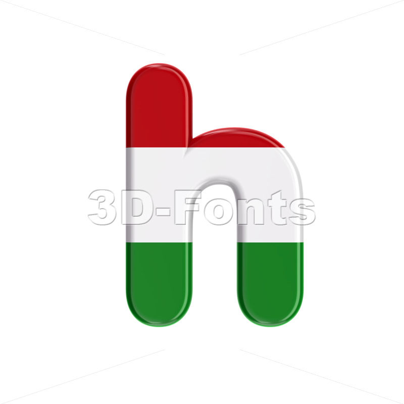 hungarian flag font H - Lower-case 3d letter - 3D Fonts Collections | Top Quality Letters, Numbers and Symbols !