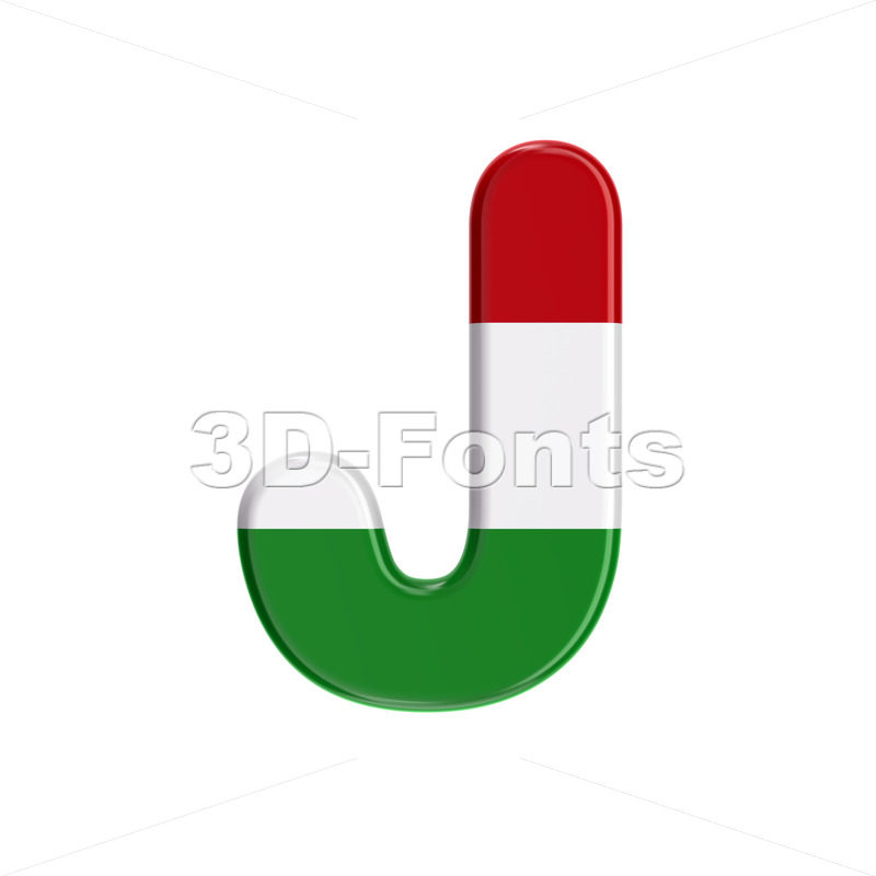 hungarian flag font J - Uppercase 3d character - 3D Fonts Collections   Top Quality Letters, Numbers and Symbols !
