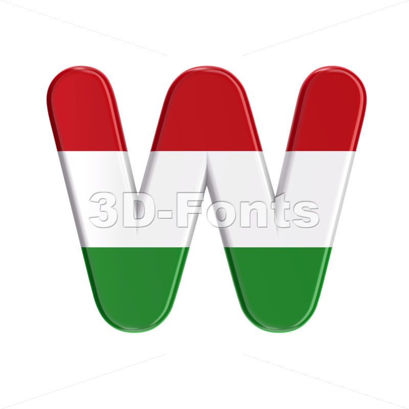 hungarian flag font W - Capital 3d letter - 3D Fonts Collections | Top Quality Letters, Numbers and Symbols !