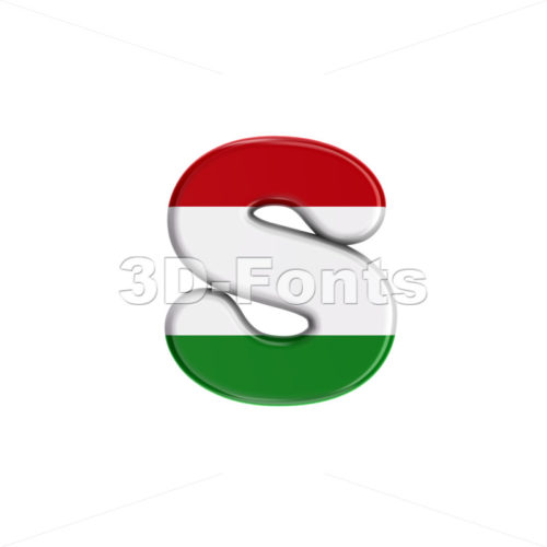 hungarian flag letter S - Lowercase 3d font - 3D Fonts Collections | Top Quality Letters, Numbers and Symbols !