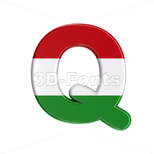hungarian font Q - Upper-case 3d character - 3D Fonts Collections | Top Quality Letters, Numbers and Symbols !