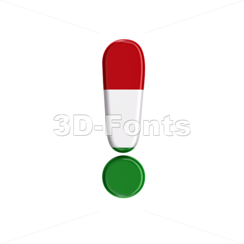 Hungary flag exclamation point - 3d symbol - 3D Fonts Collections | Top Quality Letters, Numbers and Symbols !