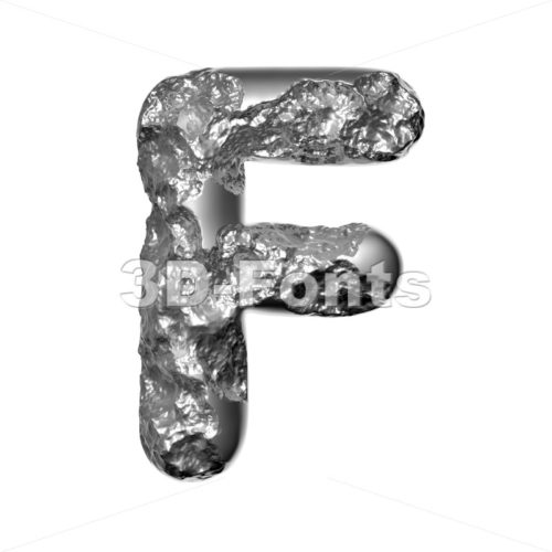 Melted steel letter F - Upper-case 3d font - 3D Fonts Collections | Top Quality Letters, Numbers and Symbols !
