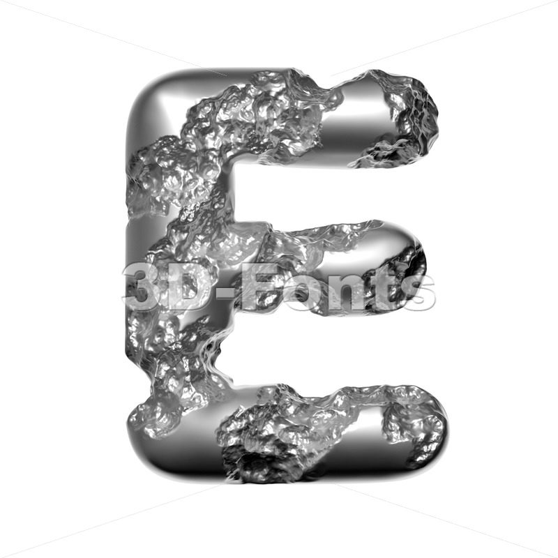 Steel character E - Capital 3d letter - 3D Fonts Collections | Top Quality Letters, Numbers and Symbols !