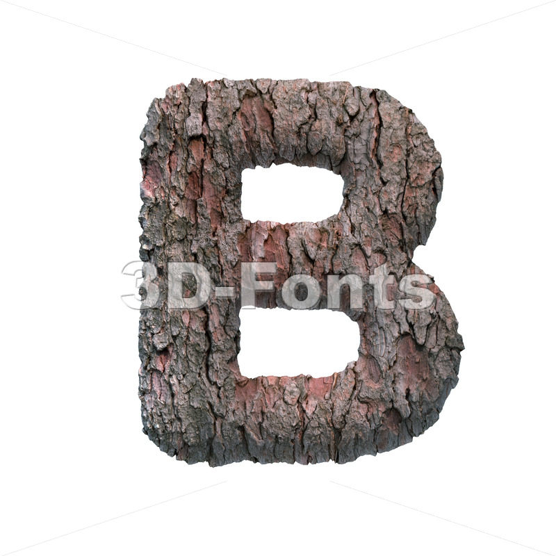 Upper-case tree bark letter B - Upper-case 3d font - 3D Fonts Collections | Top Quality Letters, Numbers and Symbols !