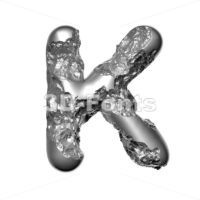 Uppercase Melted steel letter K - Capital 3d font - 3D Fonts Collections | Top Quality Letters, Numbers and Symbols !