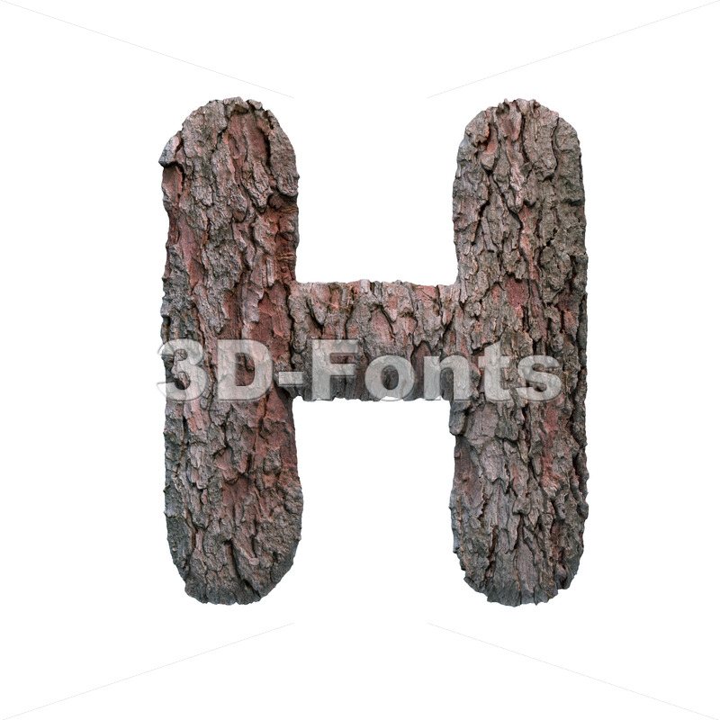 bark 3d letter H - Upper-case 3d character - 3D Fonts Collections | Top Quality Letters, Numbers and Symbols !