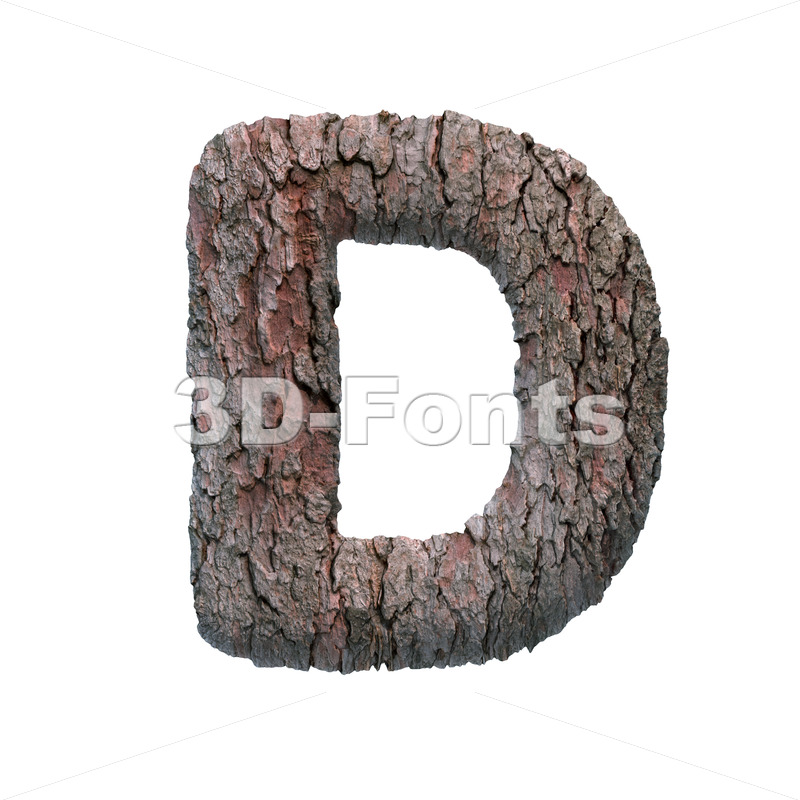 pine bark font D - Capital 3d character - 3D Fonts Collections | Top Quality Letters, Numbers and Symbols !