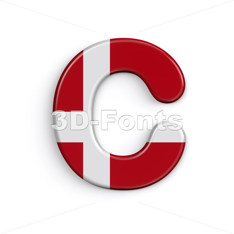 3d Denmark font C - Capital 3d letter - 3D Fonts Collections | Top Quality Letters, Numbers and Symbols !