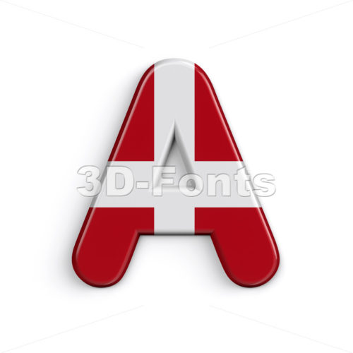 Denmark letter A - Capital 3d character - 3D Fonts Collections | Top Quality Letters, Numbers and Symbols !