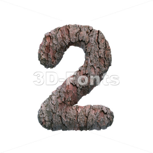 bark number 2 -  3d digit - 3D Fonts Collections | Top Quality Letters, Numbers and Symbols !