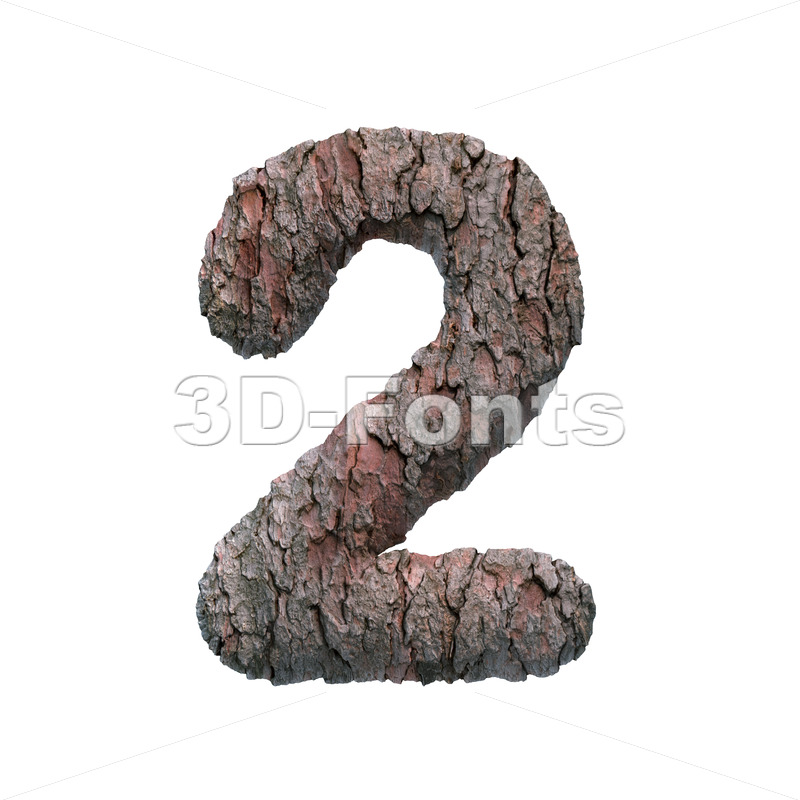 bark number 2 -  3d digit - 3D Fonts Collections   Top Quality Letters, Numbers and Symbols !