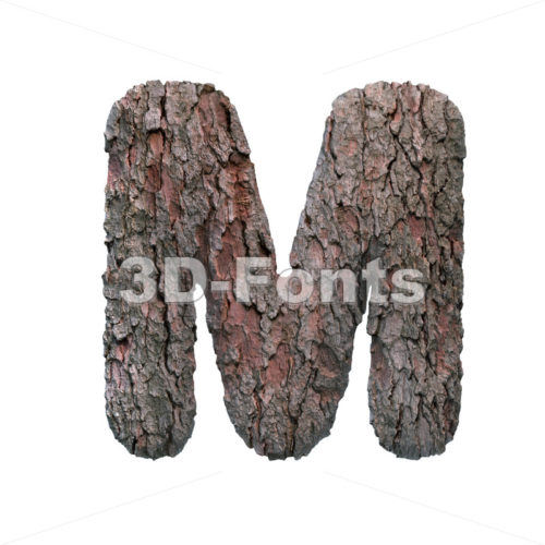 pine bark character M – Capital 3d letter – 3D Fonts Collections | Top Quality Letters, Numbers and Symbols !