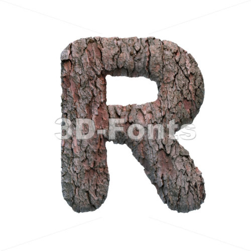 pine bark letter R - Uppercase 3d font - 3D Fonts Collections | Top Quality Letters, Numbers and Symbols !