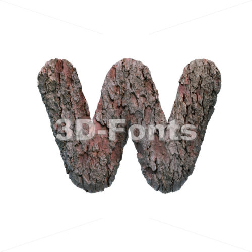 tree alphabet letter W - Lower-case 3d character - 3D Fonts Collections | Top Quality Letters, Numbers and Symbols !