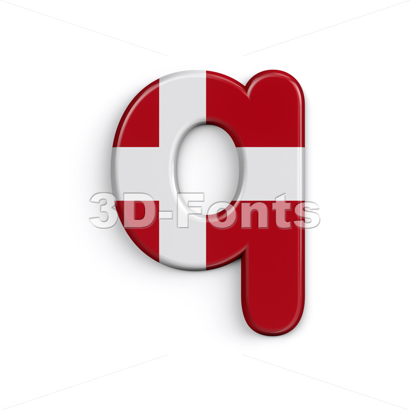 Danish flag alphabet font Q - Lower-case 3d letter - 3D Fonts Collections | Top Quality Letters, Numbers and Symbols !