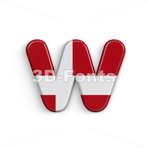 Danish flag alphabet letter W - Lower-case 3d character - 3D Fonts Collections | Top Quality Letters, Numbers and Symbols !