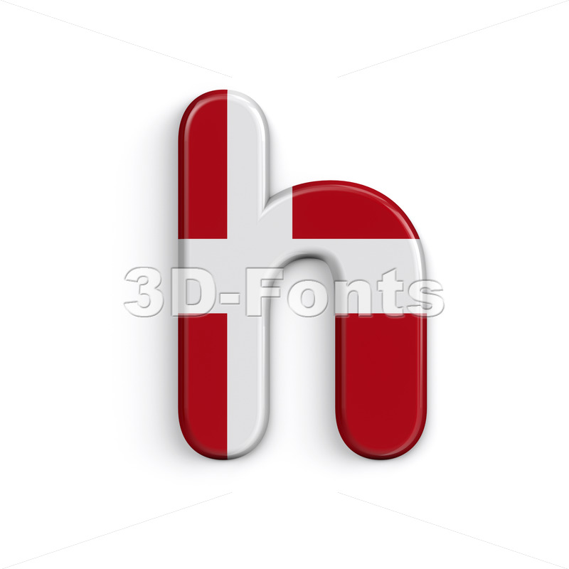 Danish font H - Lower-case 3d letter - 3D Fonts Collections | Top Quality Letters, Numbers and Symbols !