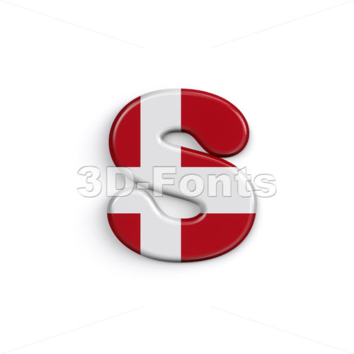 Danish letter S - Lowercase 3d font - 3D Fonts Collections | Top Quality Letters, Numbers and Symbols !