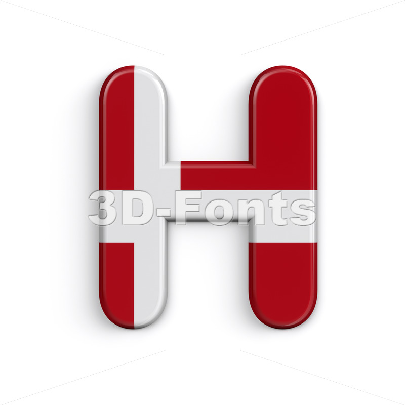 Denmark 3d letter H - Upper-case 3d character - 3D Fonts Collections   Top Quality Letters, Numbers and Symbols !