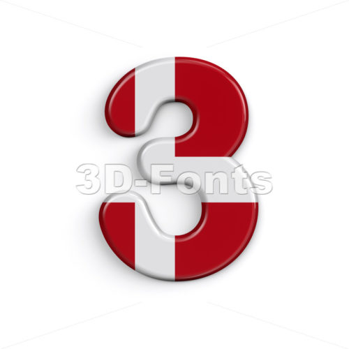 Denmark digit 3 -  3d number - 3D Fonts Collections   Top Quality Letters, Numbers and Symbols !