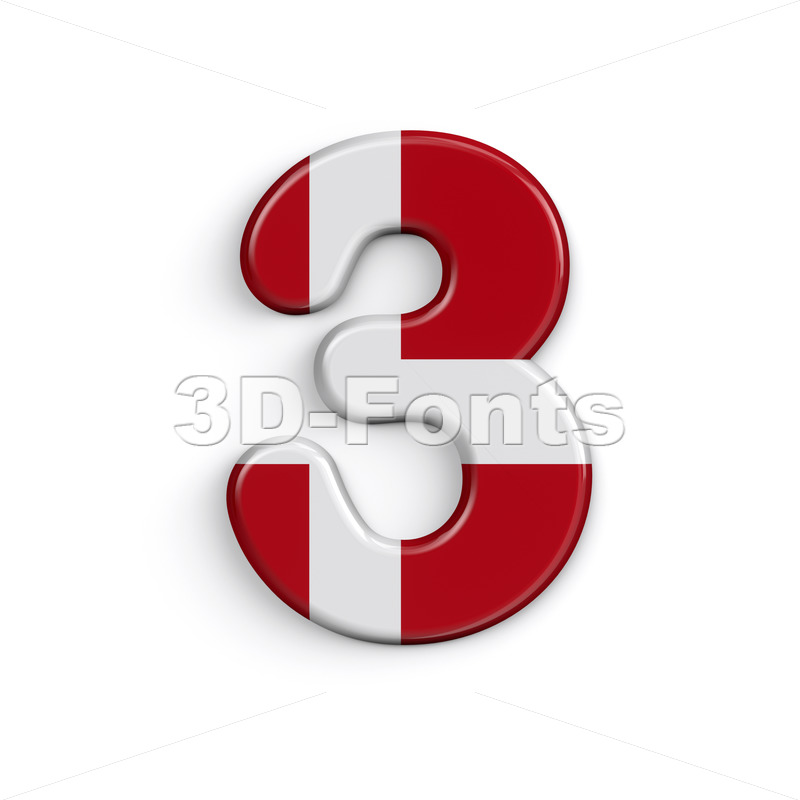Denmark digit 3 -  3d number - 3D Fonts Collections | Top Quality Letters, Numbers and Symbols !
