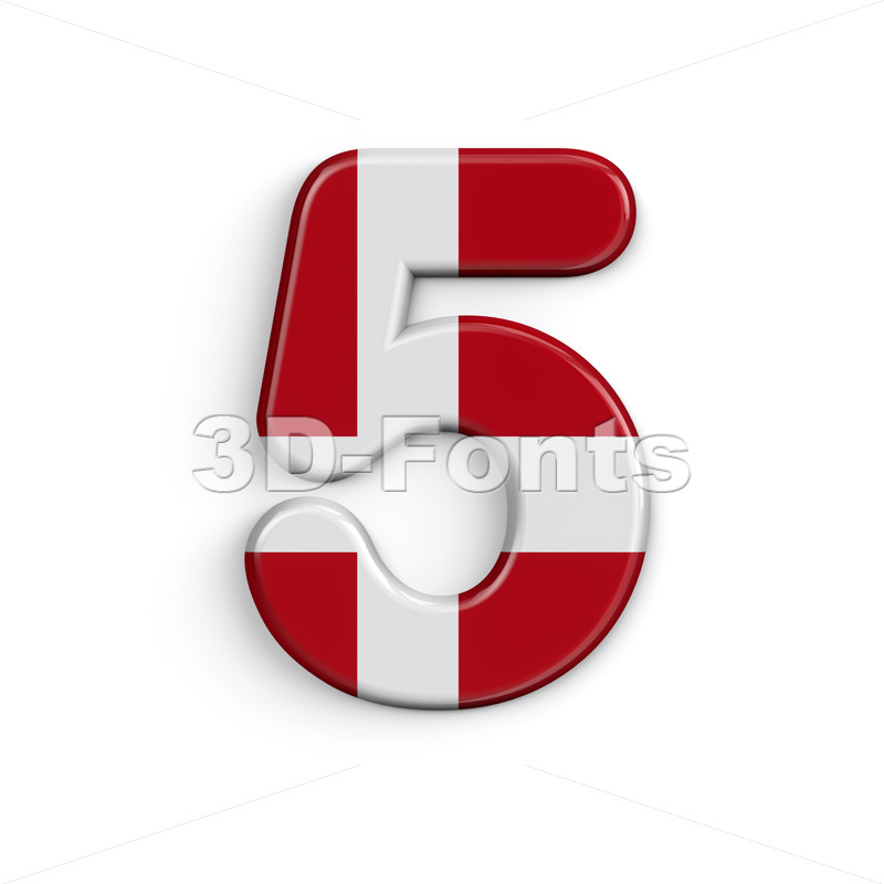Denmark digit 5 -  3d number - 3D Fonts Collections   Top Quality Letters, Numbers and Symbols !