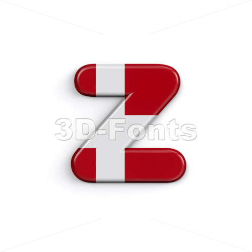 Denmark flag 3d character Z - Lower-case 3d font - 3D Fonts Collections | Top Quality Letters, Numbers and Symbols !