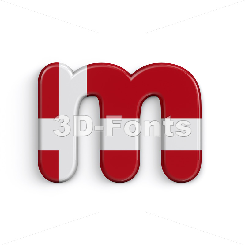 Denmark flag 3d font M - Lowercase 3d letter - 3D Fonts Collections | Top Quality Letters, Numbers and Symbols !