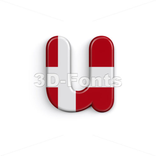 Denmark flag alphabet character U - Small 3d letter - 3D Fonts Collections | Top Quality Letters, Numbers and Symbols !