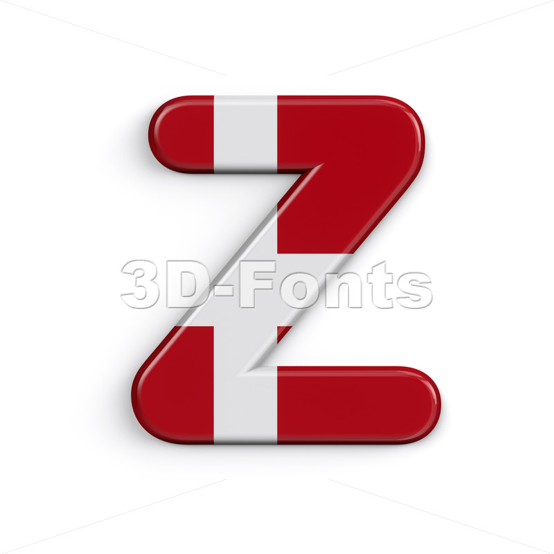 Denmark flag alphabet letter Z - Upper-case 3d font - 3D Fonts Collections | Top Quality Letters, Numbers and Symbols !