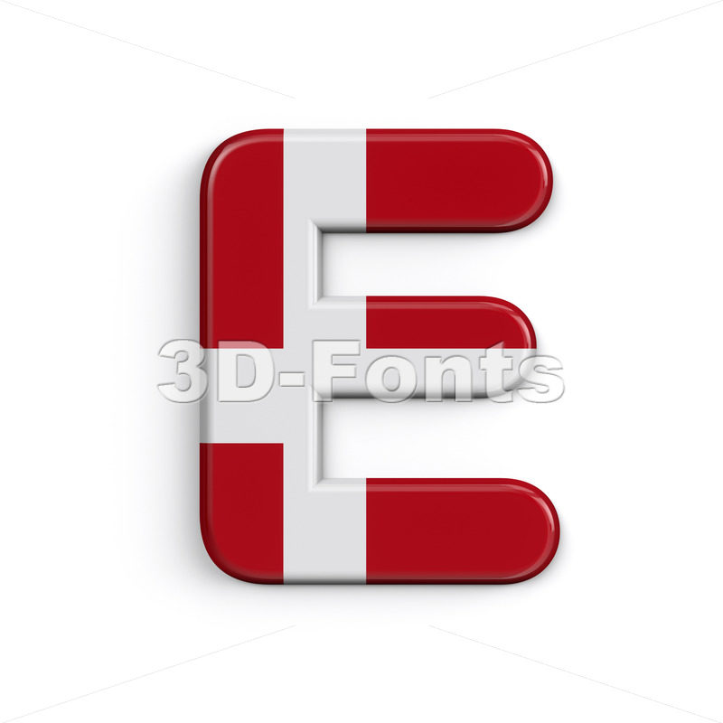 Denmark flag character E - Capital 3d letter - 3D Fonts Collections | Top Quality Letters, Numbers and Symbols !