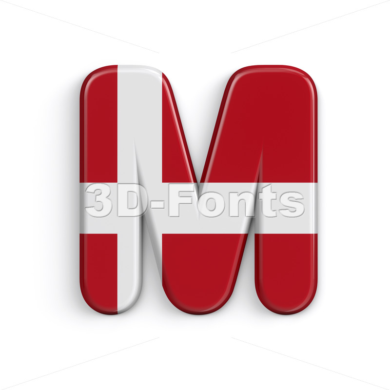 Denmark flag character M - Capital 3d letter - 3D Fonts Collections   Top Quality Letters, Numbers and Symbols !