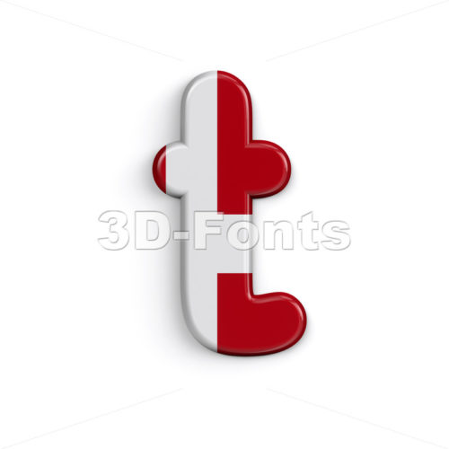 Denmark flag character T - Lower-case 3d letter - 3D Fonts Collections | Top Quality Letters, Numbers and Symbols !