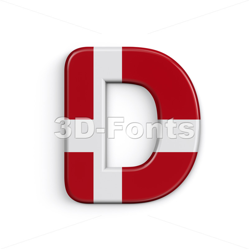 Denmark flag font D - Capital 3d character - 3D Fonts Collections | Top Quality Letters, Numbers and Symbols !