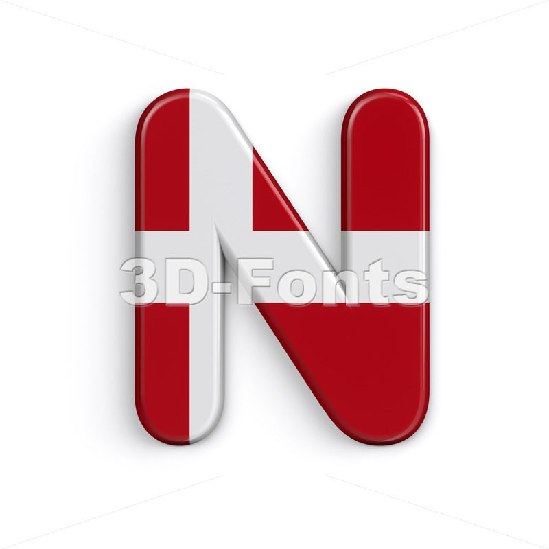 Denmark flag font N - Capital 3d letter - 3D Fonts Collections | Top Quality Letters, Numbers and Symbols !